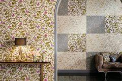 34325-4 cikkszámú tapéta.állatok,barokk-klasszikus,különleges felületű,virágmintás,arany,lila,pink-rózsaszín,súrolható,vlies tapéta