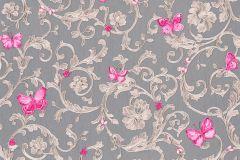 34325-5 cikkszámú tapéta.állatok,barokk-klasszikus,különleges felületű,virágmintás,pink-rózsaszín,szürke,súrolható,vlies tapéta