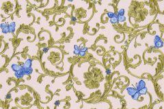 34325-6 cikkszámú tapéta.állatok,barokk-klasszikus,virágmintás,kék,pink-rózsaszín,zöld,súrolható,vlies tapéta