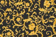 34326-2 cikkszámú tapéta.Barokk-klasszikus,különleges felületű,virágmintás,arany,fekete,súrolható,vlies tapéta