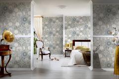 34901-3 cikkszámú tapéta.állatok,barokk-klasszikus,konyha-fürdőszobai,különleges felületű,különleges motívumos,ezüst,fehér,súrolható,vlies tapéta
