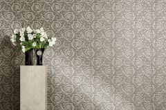 93583-6 cikkszámú tapéta.Barokk-klasszikus,különleges felületű,virágmintás,ezüst,szürke,súrolható,vlies tapéta