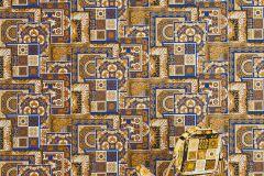 37048-1 cikkszámú tapéta.Barokk-klasszikus,geometriai mintás,különleges felületű,arany,barna,fehér,kék,súrolható,vlies tapéta