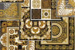 37048-3 cikkszámú tapéta.Barokk-klasszikus,geometriai mintás,különleges felületű,arany,barna,fehér,fekete,súrolható,vlies tapéta