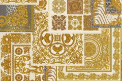 37048-4 cikkszámú tapéta.Barokk-klasszikus,geometriai mintás,különleges felületű,arany,fehér,kék,szürke,súrolható,vlies tapéta