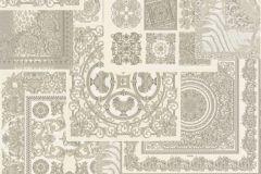37048-5 cikkszámú tapéta.Barokk-klasszikus,geometriai mintás,különleges felületű,ezüst,fehér,szürke,súrolható,vlies tapéta