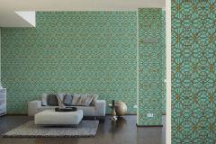 37049-7 cikkszámú tapéta.Barokk-klasszikus,geometriai mintás,különleges felületű,arany,ezüst,zöld,súrolható,vlies tapéta