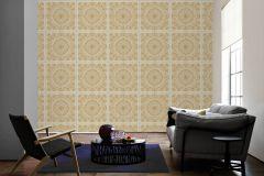 37055-2 cikkszámú tapéta.Barokk-klasszikus,különleges felületű,metál-fényes,arany,bézs-drapp,fehér,súrolható,vlies tapéta