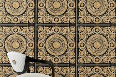 37055-3 cikkszámú tapéta.Barokk-klasszikus,különleges felületű,metál-fényes,arany,fekete,súrolható,vlies tapéta