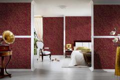 93585-7 cikkszámú tapéta.Barokk-klasszikus,különleges felületű,metál-fényes,virágmintás,arany,piros-bordó,súrolható,vlies tapéta