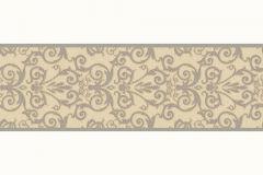93547-5 cikkszámú tapéta.Barokk-klasszikus,szürke,vajszín,súrolható,vlies bordűr