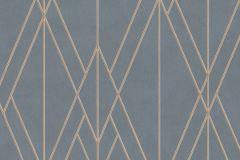 219716 cikkszámú tapéta.Absztrakt,geometriai mintás,különleges felületű,kék,narancs-terrakotta,lemosható,vlies tapéta