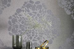 219155 cikkszámú tapéta.Különleges felületű,metál-fényes,virágmintás,fekete,erősen súrolható,vlies tapéta