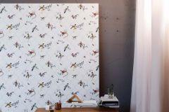 219180 cikkszámú tapéta.állatok,különleges felületű,természeti mintás,bézs-drapp,kék,narancs-terrakotta,szürke,zöld,erősen súrolható,vlies tapéta