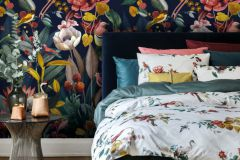 219190 cikkszámú tapéta.állatok,természeti mintás,kék,pink-rózsaszín,piros-bordó,sárga,vlies panel, fotótapéta