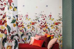 219191 cikkszámú tapéta.állatok,különleges felületű,természeti mintás,barna,kék,narancs-terrakotta,pink-rózsaszín,piros-bordó,zöld,vlies panel, fotótapéta