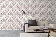 4504 cikkszámú tapéta.Különleges motívumos,rajzolt,virágmintás,barokk-klasszikus,fehér,narancs-terrakotta,pink-rózsaszín,sárga,lemosható,vlies tapéta