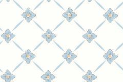 4506 cikkszámú tapéta.Különleges motívumos,rajzolt,retro,virágmintás,fehér,kék,lemosható,vlies tapéta