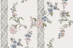 4507 cikkszámú tapéta.Különleges motívumos,rajzolt,retro,természeti mintás,virágmintás,bézs-drapp,bronz,kék,pink-rózsaszín,vajszín,zöld,lemosható,vlies tapéta