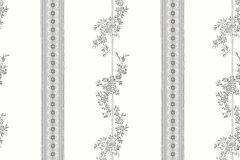 4508 cikkszámú tapéta.Barokk-klasszikus,csíkos,különleges motívumos,rajzolt,retro,virágmintás,bézs-drapp,fehér,vajszín,lemosható,vlies tapéta