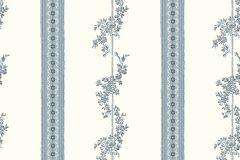 4509 cikkszámú tapéta.Barokk-klasszikus,csíkos,különleges motívumos,rajzolt,retro,virágmintás,fehér,kék,lemosható,vlies tapéta