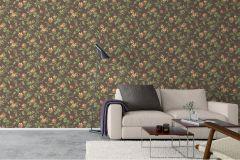 4517 cikkszámú tapéta.Barokk-klasszikus,virágmintás,barna,narancs-terrakotta,zöld,lemosható,vlies tapéta