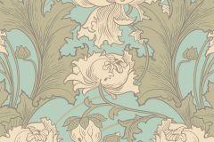 4538 cikkszámú tapéta.Barokk-klasszikus,virágmintás,bézs-drapp,bronz,kék,türkiz,lemosható,vlies tapéta