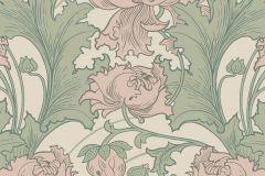 4539 cikkszámú tapéta.Barokk-klasszikus,virágmintás,bézs-drapp,pink-rózsaszín,zöld,lemosható,vlies tapéta
