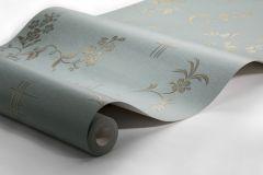 4547 cikkszámú tapéta.Barokk-klasszikus,természeti mintás,virágmintás,arany,türkiz,lemosható,vlies tapéta