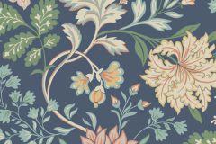 6701 cikkszámú tapéta.Retro,virágmintás,kék,narancs-terrakotta,pink-rózsaszín,vajszín,zöld,lemosható,vlies tapéta