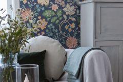 6701 cikkszámú tapéta.Retro,virágmintás,kék,narancs-terrakotta,pink-rózsaszín,vajszínű,zöld,lemosható,vlies tapéta