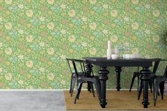 6705 cikkszámú tapéta.Retro,virágmintás,kék,narancs-terrakotta,pink-rózsaszín,sárga,zöld,lemosható,vlies tapéta