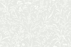 33501 cikkszámú tapéta.Különleges motívumos,rajzolt,retro,természeti mintás,virágmintás,fehér,szürke,lemosható,vlies tapéta