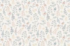 33512 cikkszámú tapéta.Különleges motívumos,rajzolt,retro,természeti mintás,virágmintás,bézs-drapp,kék,narancs-terrakotta,sárga,zöld,lemosható,vlies tapéta