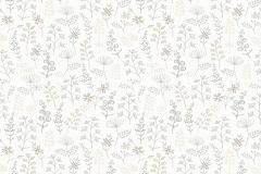 33513 cikkszámú tapéta.Különleges felületű,különleges motívumos,rajzolt,retro,természeti mintás,virágmintás,fehér,szürke,lemosható,vlies tapéta
