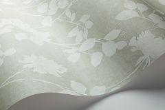 33514 cikkszámú tapéta.Különleges felületű,különleges motívumos,rajzolt,retro,virágmintás,vajszín,zöld,lemosható,vlies tapéta