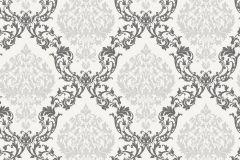 33524 cikkszámú tapéta.Barokk-klasszikus,különleges motívumos,rajzolt,fehér,fekete,szürke,lemosható,vlies tapéta