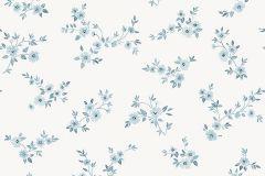 38610 cikkszámú tapéta.Virágmintás,fehér,kék,lemosható,vlies tapéta