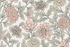 38618 cikkszámú tapéta.Virágmintás,fehér,pink-rózsaszín,lemosható,vlies tapéta