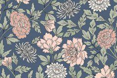 38619 cikkszámú tapéta.Virágmintás,kék,pink-rózsaszín,zöld,lemosható,vlies tapéta