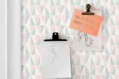 38634 cikkszámú tapéta.Absztrakt,geometriai mintás,fehér,kék,pink-rózsaszín,lemosható,vlies tapéta