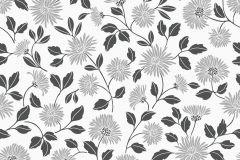 3529 cikkszámú tapéta.Rajzolt,virágmintás,fehér,fekete,lemosható,papír tapéta