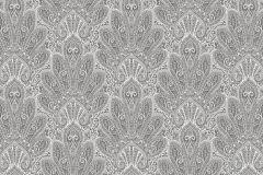 3016 cikkszámú tapéta.Virágmintás,csipke,retro,barokk-klasszikus,különleges motívumos,rajzolt,fehér,szürke,lemosható,vlies tapéta