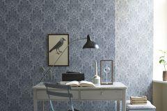 3019 cikkszámú tapéta.Virágmintás,csipke,retro,barokk-klasszikus,rajzolt,fehér,kék,lemosható,vlies tapéta