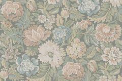 3562 cikkszámú tapéta.Virágmintás,kék,narancs-terrakotta,szürke,lemosható,vlies tapéta