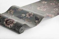 3593 cikkszámú tapéta.Virágmintás,pink-rózsaszín,szürke,súrolható,vlies poszter, fotótapéta