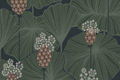 3119 cikkszámú tapéta.Virágmintás,szürke,zöld,lemosható,vlies tapéta