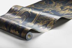 3132 cikkszámú tapéta.Rajzolt,természeti mintás,kék,lemosható,vlies tapéta