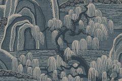 3133 cikkszámú tapéta.Rajzolt,természeti mintás,kék,lemosható,vlies tapéta