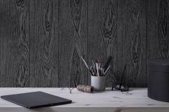 1176 cikkszámú tapéta.Fa hatású-fa mintás,különleges felületű,fekete,szürke,lemosható,illesztés mentes,vlies tapéta